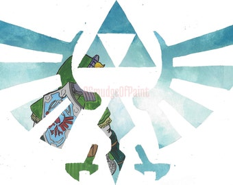 Original Legend of Zelda Skyward Sword Link and Triforce Watercolour Painting 19 x 11cm, Modern Home Decor, Valentines Day Gift