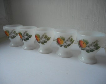 vintage French Arcopal decorative white glass egg cups set of 5 with nice design