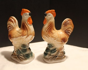 Pair-Ceramic Rooster Figurines, Brazil, Glazed and Cold Painted, Chicken, Farm Yard, Roosters, Kitchen Figurines (H014)