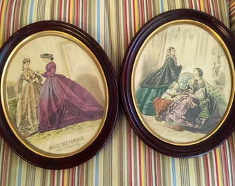 Vintage framed French Fashion hand painted etchings from Muse de Familles magazine