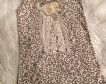 Leopard shabby chic bling tank