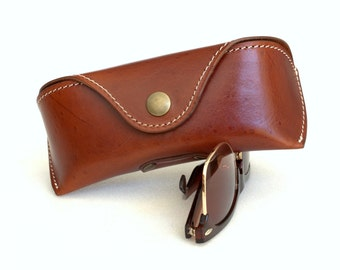 Glasses case  for Wayfarers Vegetable tanned leather Antique Brown