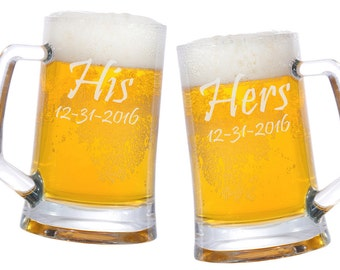 His Hers Glass Mugs 25oz. / Personalized Beer Mug/ Engraved / Etched / Wedding Glasses / Gifts / Add Your Date or Date / Set of 2 - 48 Fonts
