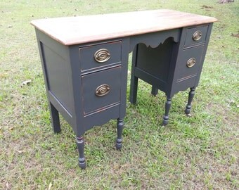 1940's Antique Vanity Dresser/ Desk in Deep Navy Blue