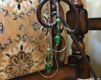 Silver and Green Teardrop Hoop Earrings