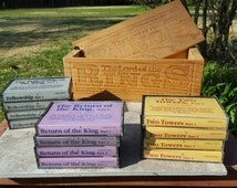 JRR Tolkien The Lord of the Rings Trilogy 12 Books on Cassette Tapes Vintage 1970's Wooden Box Set Two Towers Fellowship Return of the King