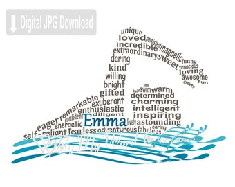 Swimmer Word Art, Personalized Swimmer Gift, Girl Swimmer Art, Swimming Art, Personalized Word Art Typography, PRINTABLE DIGITAL FILE