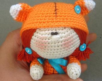 Crochet doll Little Fox, toy amigurumi, Art Doll, collectible doll