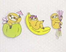 THREE PACK Sloth Vinyl Stickers