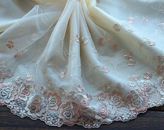 High Quality Floral Embroidered Lace Trim  Tulle Lace Trim 8.26 Inches Wide 2 yards X0153