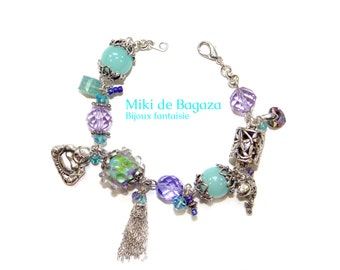 Purple and turquoise Beads Bracelet