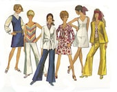 1960s woman retro unlined jacket jumper pants & top, Simplicity 8204, size 14, bell bottom, hip hugger, PREVIOUSLY CUT