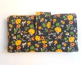 Yellow flowers wallet/Women wallet/Flower fabric wallet