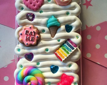 Eat Me iPhone 6 lollipop Kawaii Case / Fake Whipped Decoden Case / Deco Whip Fake Cream Custom Case