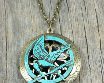 Patina Hunger Games Mocking Jay Bronze Aromatherapy Diffusing Locket Necklace / Essential-Oil Diffusing Locket Necklace / EO Locket