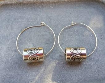 Tribal Swirl Silver Plated Hoop Earrings