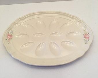 Pfaltzgraff Tea Rose Egg Tray ~  Deviled Egg Dish ~ Egg Platter ~ Vintage