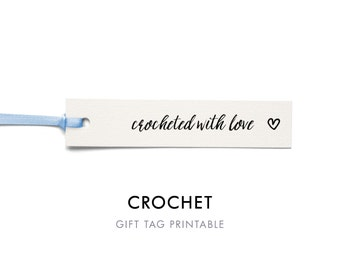 Crocheted with Love Tag Template, Crochet Tags, Handmade With Love, Handmade Printable Tags, Craft Tags, Crochet, Gift Tag, Instant Download