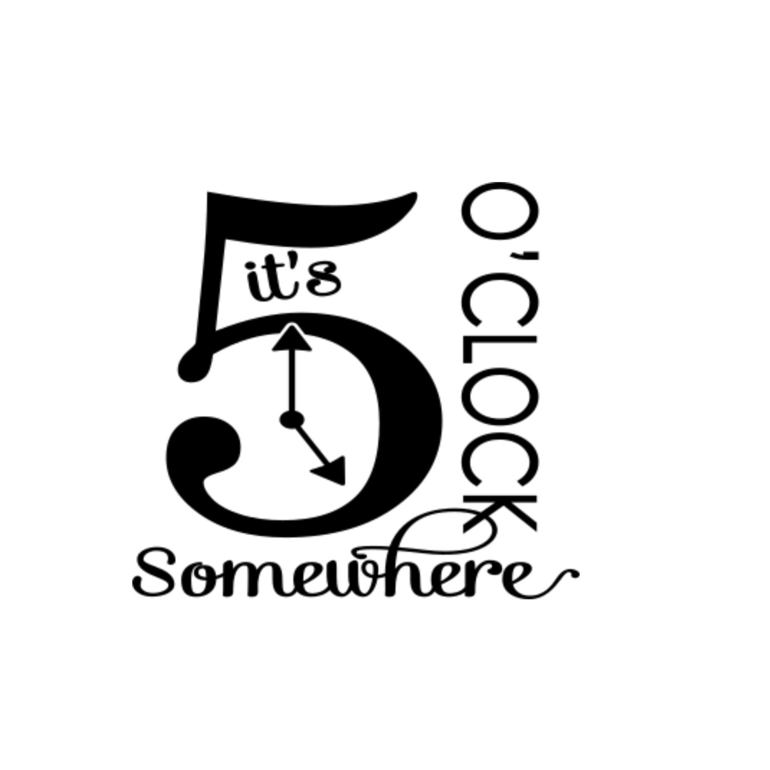 It S 5 O Clock Somewhere Vinyl Decal Glass Block By
