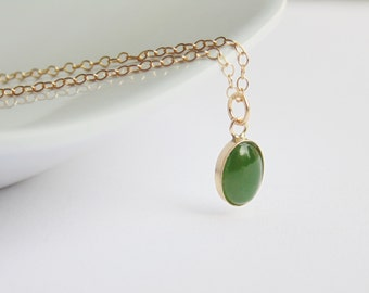 Small oval green nephrite jade gemstone pendant 14k gold filled fine chain necklace