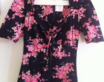 70s long floral dress navy & pink / extra small