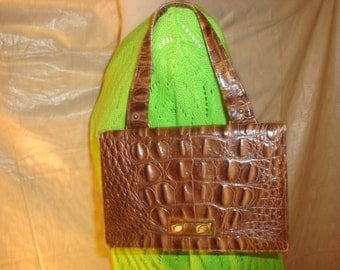Brown Leather Crocodile Print Triangle Handbag
