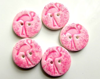 Sparkly Pink Flamingo 19mm handmade buttons