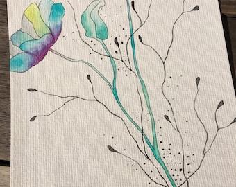 Flower ink and watercolor, original