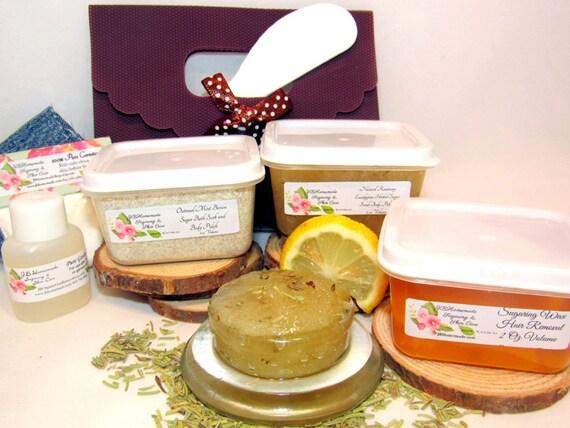 Natural Eucalyptus Rosemary Scrub Sugaring Wax Deluxe Starter Kit