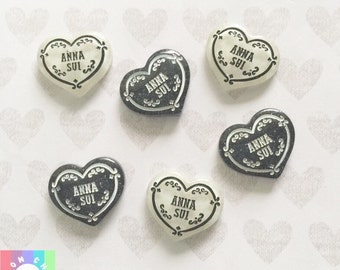 Heart designer cabochons- 6 pcs 23mm