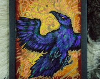Acrylic Painting / Raven Dusk / Framed Wall Art with Gold & Copper Accents / Original