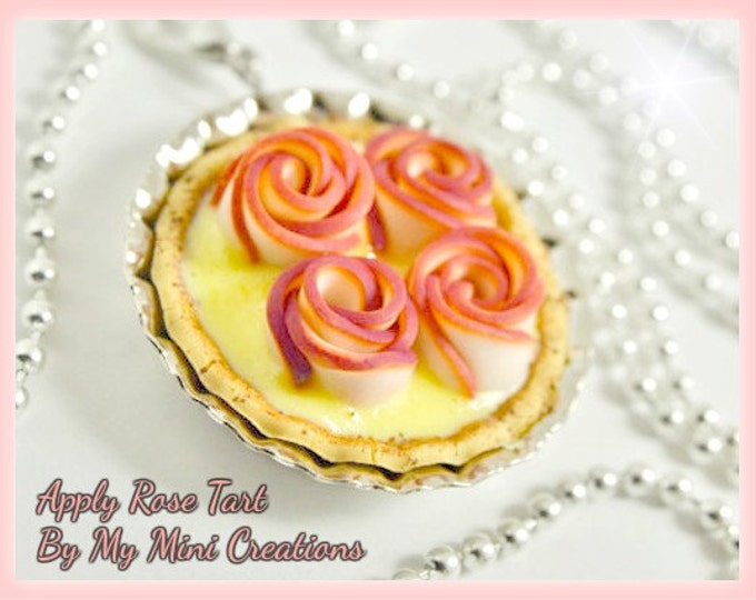 Apply Rose Tart Necklace, Miniature food, Miniature Food Jewelry