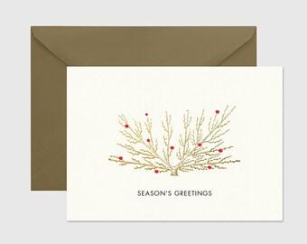 Christmas Card - PRINTABLE FILE. Holiday Printable Card. Season's Greetings. Classic Christmas A6 Card.