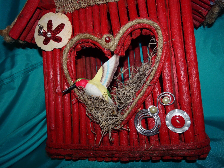 red birdhouse wood birdhouse indoor birdhouse decorative. Black Bedroom Furniture Sets. Home Design Ideas
