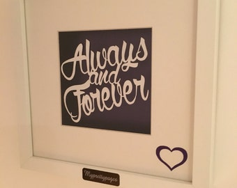 Always and forever floating papercut - wedding or anniversary gift idea - wall art