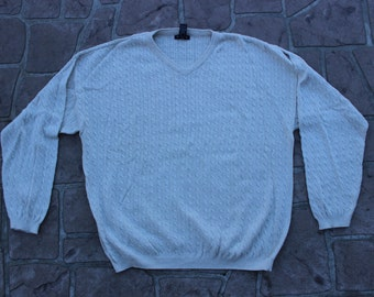 Cream Gant Cableknit Mens Sweater // Large