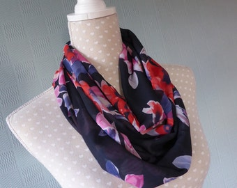 Chiffon infinity scarf, summer scarf, loop scarf, coloured flowered scarf