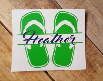 Flip flop name decal, summer decal, flip flop decal