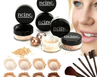 14pc Naked Skin Mineral Makeup Set (Large) by NCinc. Includes Foundation, Blusher, Bronzer, Concealer, Corrector, Miracle Veil + 7 Brushes