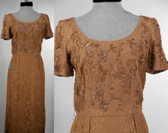 Vintage 1940s/1950s unworn evening dress-dinner dress new dead stock latte/mocha in color lace pearls bugle beads size 16 size small