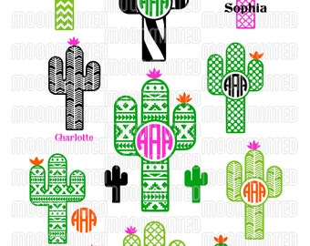 Cactus SVG Cut Files - Monogram Frames for Vinyl Cutters, Screen Printing, Silhouette, Die Cut Machines, & More