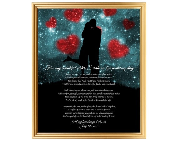 Wedding Gifts For The Bride From A Sister : Wedding gift for my sisterSister wedding giftWedding gift poem ...