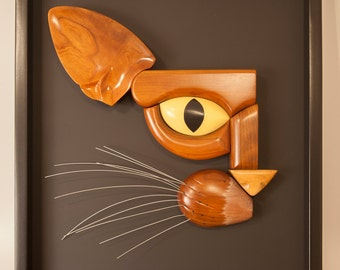 Handcarved Wooden Cat Face