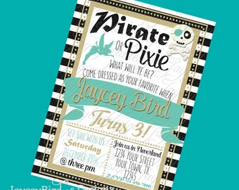 Personalized Pirate or Pixie Birthday Invitation  For Boy, Girl, or Twins