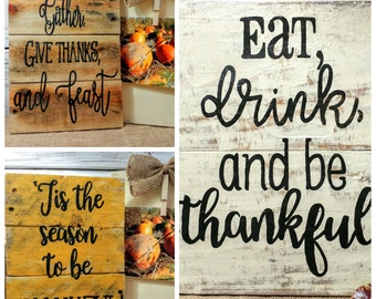 Thanksgiving pallet art, rustic Thanksgiving signs, Fall wall hanging, Thanksgiving signs, give thanks sings, wall hanging, blessed art