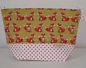 Mr Fox Sock Project Pouch with Needle Keeper