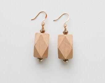 Geometric Wood Drop Earrings, Czech Glass and Wood Earrings, Boho Chic Earrings