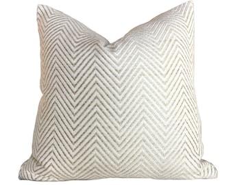 "Kravet Candice Olson Ivory Cream Beige Herringbone Chevron Zig Zag Pillow Cover, Fits 12x18 14x20 16x26 16"" 18"" 20"" 22"" 24"" Cushions"