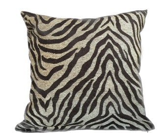 """Dark Brown Beige Tiger Animal Stripe Chenille Pillow Cushion Zipper Cover, Made to fit Lumbar 16"""" 18"""" 20"""" 22"""" 24"""" Inserts"""