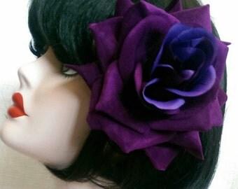 Purple  XL velvet rose hair clip